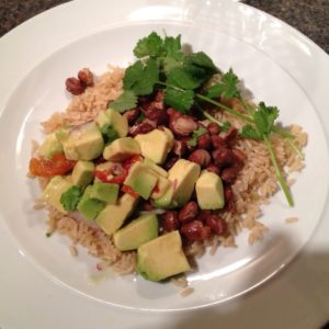 Warm bean and rice Mexican salad