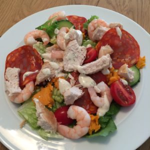 Chicken chorizo and king prawn salad