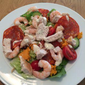 Chicken chorizo and king prawn salad
