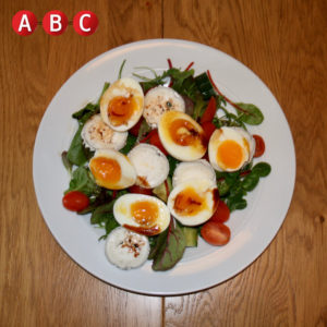 Boiled egg and goats cheese salad
