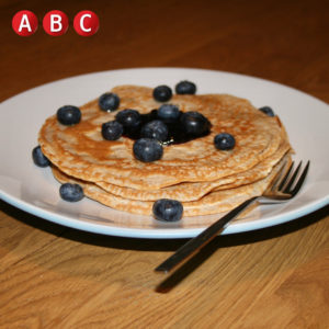 Wild blueberry spelt pancakes